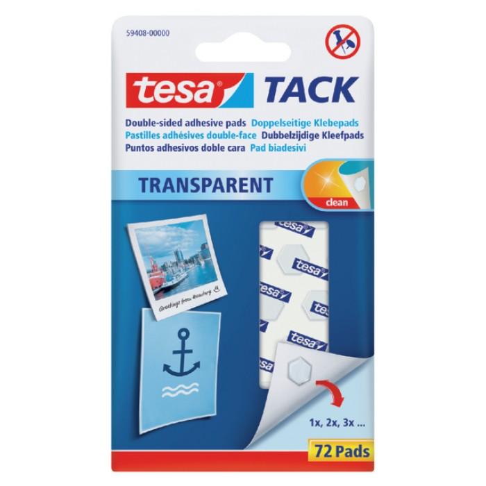 Dubbelzijdige kleefpads Tesa tack transparant 72stuks