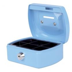 Geldkist Pavo met muntgleuf 125x95x60mm lichtblauw