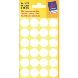 Etiket Avery Zweckform 3170 rond 18mm wit 96stuks