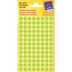 Etiket Avery Zweckform 3179 rond 8mm lichtgroen 416stuks
