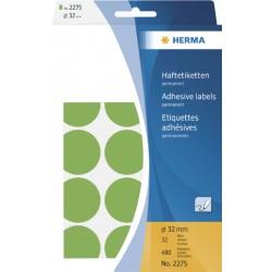 Etiket Herma 2275 rond 32mm groen 480stuks