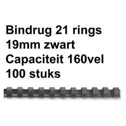 Bindrug GBC 19mm 21rings A4 zwart 100stuks