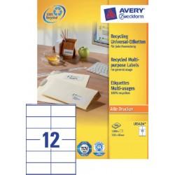 Etiket Avery LR3424 105x48mm recycled wit 1200stuks