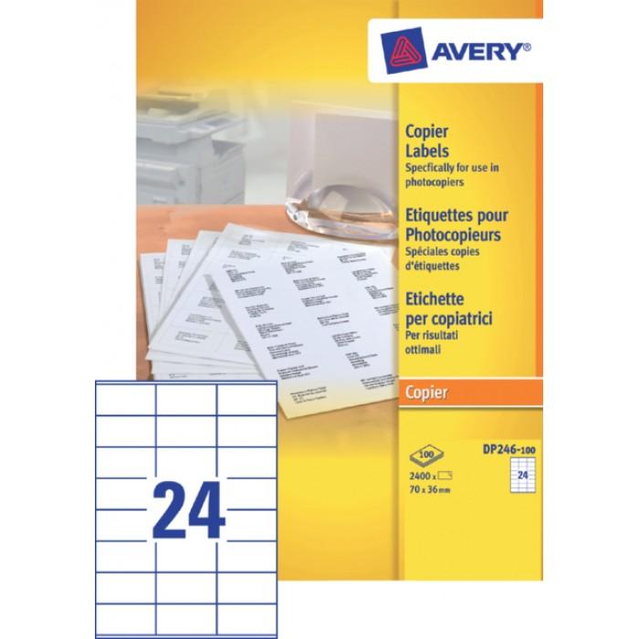 Etiket Avery DP246-100 70x36mm wit 2400stuks