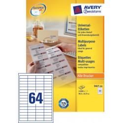 Etiket Avery Zweckform 3667 48.5x16.9mm wit 12800stuks