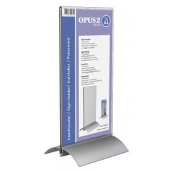 Kaarthouder OPUS 2  T-standaard 1/3 A4 staand acryl aluminium
