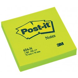 Memoblok 3M Post-it 654 76x76mm neon groen
