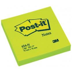 Memoblok 3M Post-it 654-NGR 76x76mm neon groen