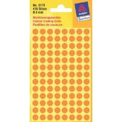 Etiket Avery Zweckform 3178 rond 8mm oranje 416stuks