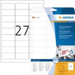 Etiket Herma 4347 63.5x29.6mm verwijderbaar wit 675stuks