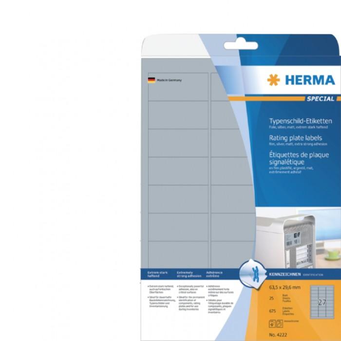 Etiket Herma 4222 63.5x29.6mm folie zilver 675stuks