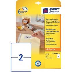 Etiket Avery L4734REV-25 199.3x143.5mm afneembaar wit 50stuk