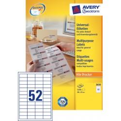 Etiket Avery Zweckform 3650 48x21mm wit 5200stuks