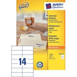 Etiket Avery Zweckform 3653 105x42.3mm wit 2800stuks