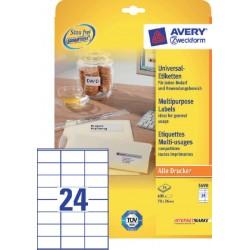 Etiket Avery Zweckform 3490 70x36mm wit 600stuks