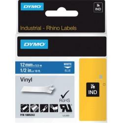 Labeltape Dymo Rhino 18052 12mmx5.5m vinyl wit op blauw