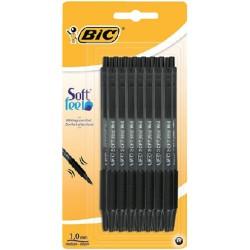 Balpen Bic Soft Feel Clic Grip zwart medium blister à 15st