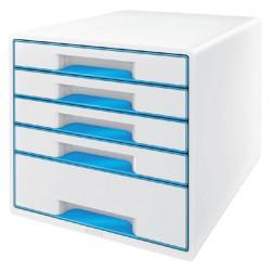 Ladenblok Leitz WOW 5 laden wit/blauw