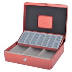 Geldkist Pavo met muntsorteerbak 300x240x90mm rood