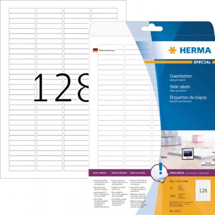 Etiket Herma 5071 43.2x8.5mm dia wit 3200stuks