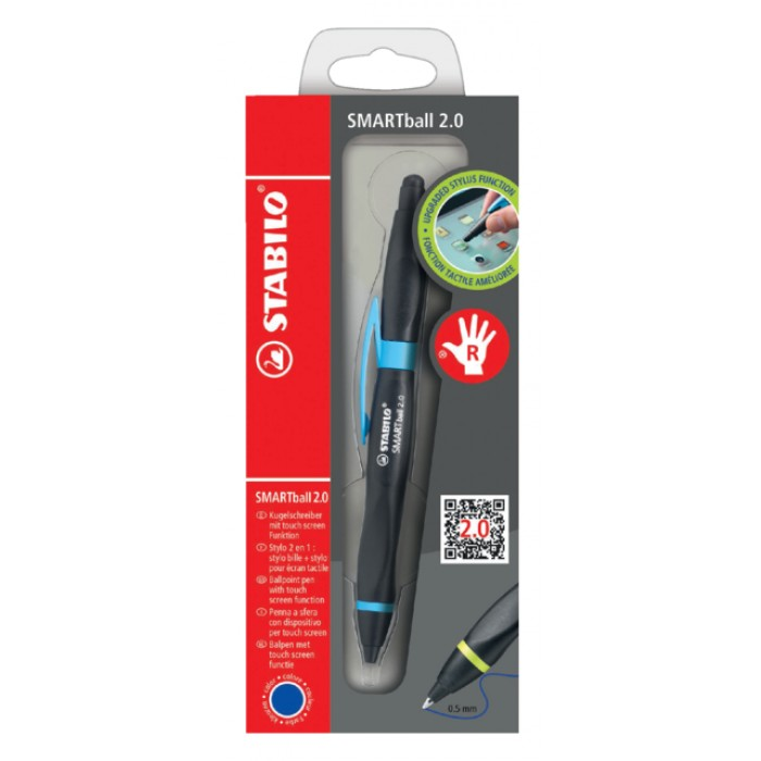 Balpen STABILO Smartball rechtshandig zwart/blauw blister