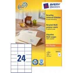 Etiket Avery LR3475 70x36mm recycled wit 2400stuks