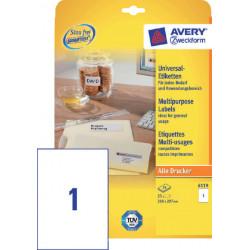 Etiket Avery Zweckform 6119 210x297mm A4 wit 25stuks