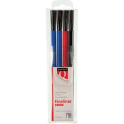Fineliner Quantore rond 0.4mm assorti 4stuks