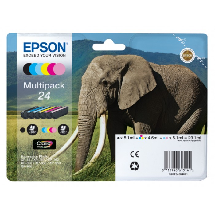 Inkcartridge Epson 24 T2428 foto HD zwart + 5 kleuren