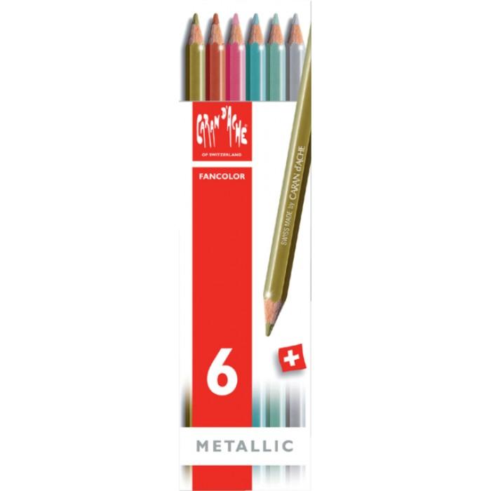 Kleurpotloden Caran d'Ache Fancolor metallic doos à 6st