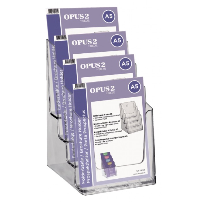 Folderhouder OPUS 2 4vaks A5 transparant