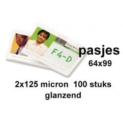 Lamineerhoes GBC keycard 64x99mm 2x125micron 100stuks
