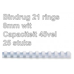 Bindrug GBC 8mm 21rings A4 wit 25stuks