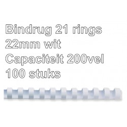 Bindrug GBC 22mm 21rings A4 wit 100stuks