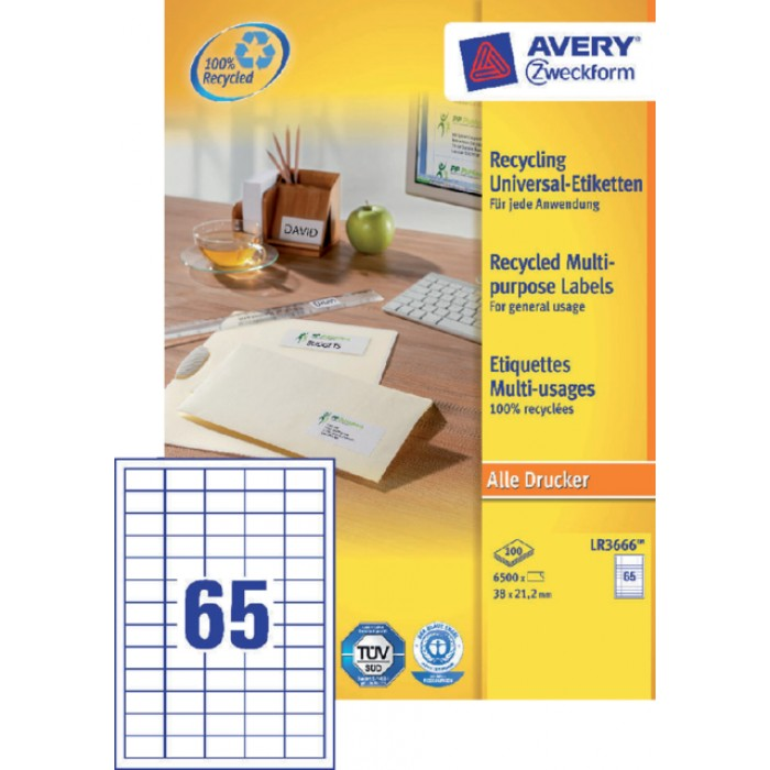 Etiket Avery LR3666 38x21.2mm recycled wit 6500stuks