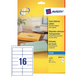 Etiket Avery J8562-25 99.1x33.9mm transparant 400stuks