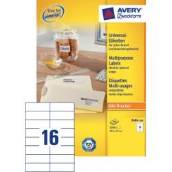 Etiket Avery Zweckform 3484 105x37mm wit 3200stuks