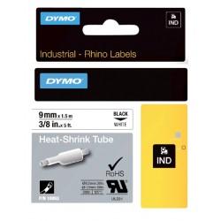 Labeltape Dymo Rhino 18053 krimpkous 9mmx1.5m zwart op wit