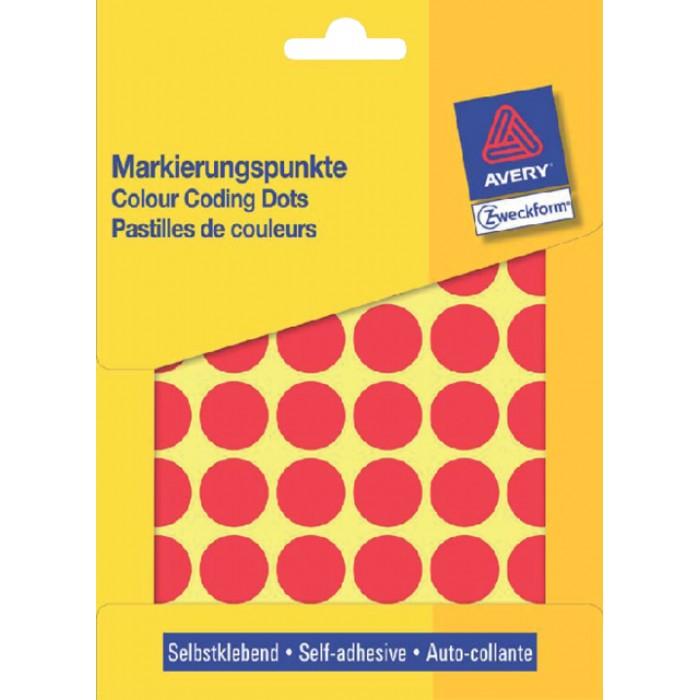 Etiket Avery Zweckform 3374 rond 18mm rood 1056stuks