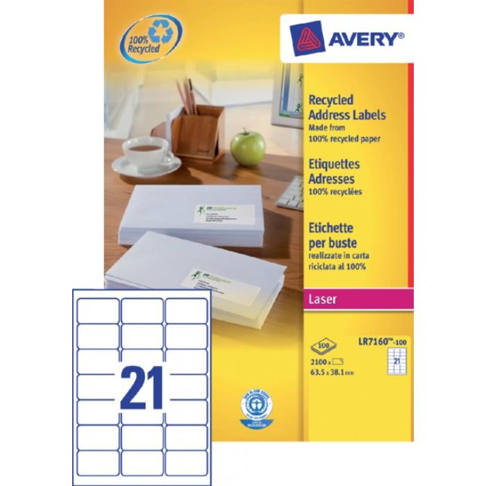 Etiket Avery LR7160-100 63.5x38.1mm recycled wit 2100stuks
