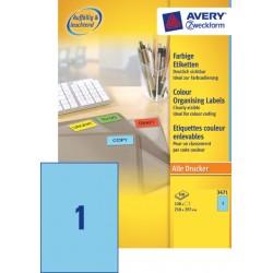 Etiket Avery Zweckform 3471 210x297mm A4 blauw 100stuks