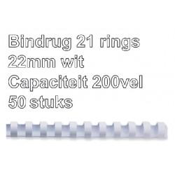 Bindrug Fellowes 22mm 21rings A4 wit 50stuks