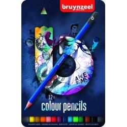 Kleurpotloden Bruynzeel Teens 12stuks blauw blik assorti