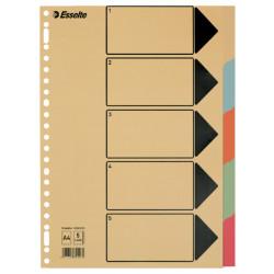 Tabbladen Esselte A4 23-gaats karton 5-delig assorti