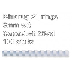 Bindrug Fellowes 6mm 21rings A4 wit 100stuks