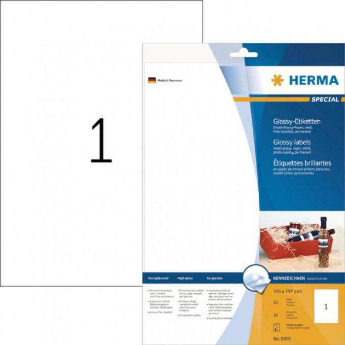 Etiket Herma 8895 210x297mm A4 glossy wit 10stuks