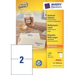 Etiket Avery Zweckform 3655 210x148mm A5 wit 400stuks