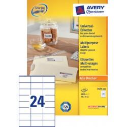 Etiket Avery Zweckform 3475 70x36mm wit 4800stuks