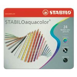 Kleurpotloden Stabilo Aquacolor 24stuks metalen etui assorti