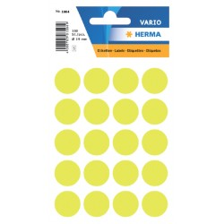 Etiket Herma 1884 rond 19mm fluor geel 100stuks